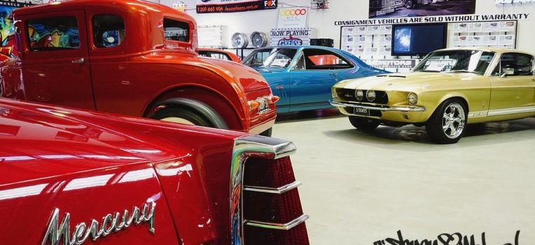 showroom with hot rod